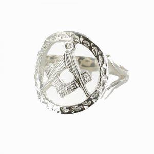 Regalia Store UK 1-111-300x300 Large Silver Pierced Design Square and Compass Masonic Ring