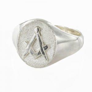 Regalia Store UK 1-115-300x300 Oval Head Silver Masonic Signet Ring Bearing the Square & Compass Symbol/Seal