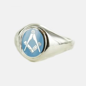 Regalia Store UK 1-127-300x300 Silver Oval Head with Light Blue Enamel Square And Compass Masonic Ring- Fixed Head