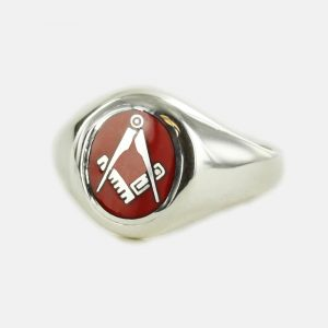 Regalia Store UK 1-129-300x300 Silver Oval Head with Red Enamel Square And Compass Masonic Ring- Fixed Head