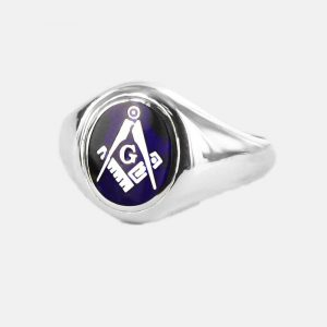 Regalia Store UK 1-133-300x300 Silver Square And Compass with G Oval Head Masonic Ring (Blue)- Fixed Head