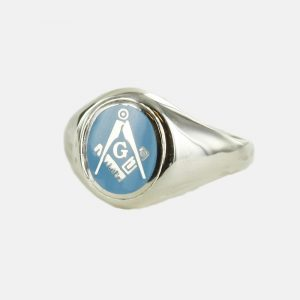 Regalia Store UK 1-135-300x300 Silver Square And Compass with G Oval Head Masonic Ring (Light Blue)- Fixed Head