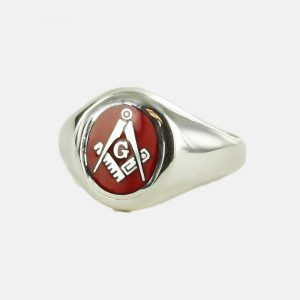 Regalia Store UK 1-137-300x300 Silver Square And Compass with G Oval Head Masonic Ring (Red)- Fixed Head