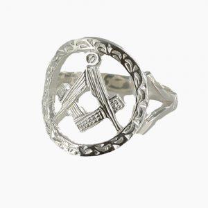 Regalia Store UK 1-139-300x300 Small Silver Pierced Design Square and Compass Masonic Ring