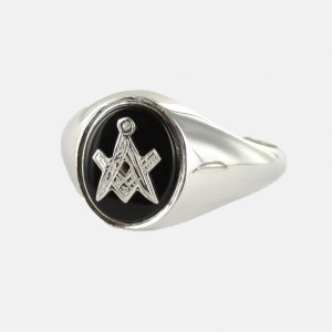 Regalia Store UK 1-147-300x300 Solid Silver Onyx Masonic Ring Square and Compass