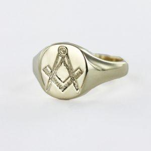 Regalia Store UK 1-171-300x300 9ct Yellow Gold Square and Compass Masonic Signet Ring