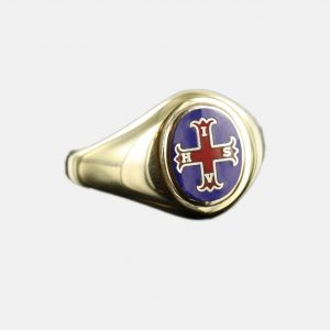 Regalia Store UK 1-188-300x300 Gold Red Cross of Constantine Masonic Ring (Blue)- Fixed Head
