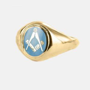 Regalia Store UK 1-202-300x300 Gold Square And Compass Oval Head Masonic Ring (Light Blue)- Fixed Head