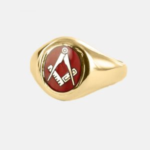 Regalia Store UK 1-204-300x300 Gold Square And Compass Oval Head Masonic Ring (Red)- Fixed Head