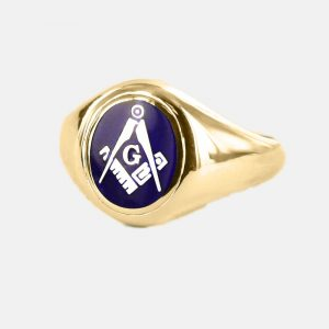 Regalia Store UK 1-210-300x300 Gold Square And Compass with G Oval Head Masonic Ring (Blue)- Fixed Head