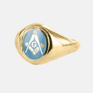 Regalia Store UK 1-212-300x300 Gold Square And Compass with G Oval Head Masonic Ring (Light Blue)- Fixed Head