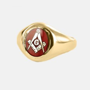 Regalia Store UK 1-217-300x300 Gold Square And Compass with G Oval Head Masonic Ring (Red)- Fixed Head