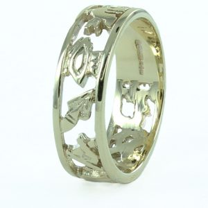Regalia Store UK 1-227-300x300 Masonic Wedding Ring in Solid 9ct Yellow Gold – Standard Weight (6.5mm)