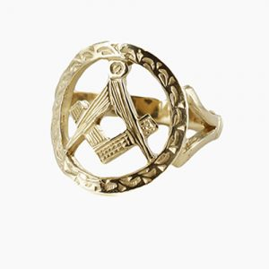 Regalia Store UK 1-232-300x300 Small Gold Pierced Design Square and Compass Masonic Ring
