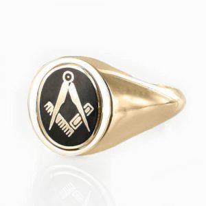 Regalia Store UK 1-238-300x300 Black Reversible 9ct Gold Square and Compass Masonic Ring