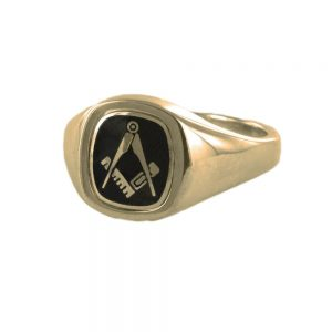 Regalia Store UK 1-242-300x300 Black Reversible Cushion Head Solid Gold Square and Compass Masonic Ring