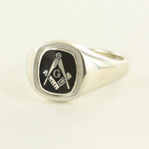 Regalia Store UK 1-248-300x300 Black Reversible Cushion Head Solid Silver Square and Compass with G Masonic Ring