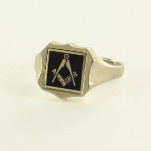 Regalia Store UK 1-250-300x300 Black Reversible Shield Head Solid Gold Square and Compass Masonic Ring