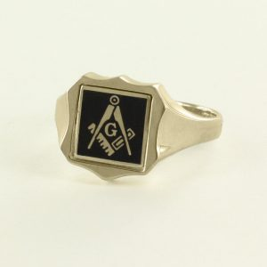 Regalia Store UK 1-252-300x300 Black Reversible Shield Head Solid Gold Square and Compass with G Masonic Ring