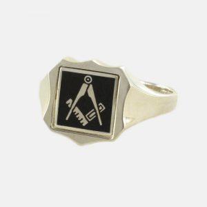 Regalia Store UK 1-254-300x300 Black Reversible Shield Head Solid Silver Square and Compass Masonic Ring