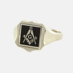 Regalia Store UK 1-256-300x300 Black Reversible Shield Head Solid Silver Square and Compass with G Masonic Ring