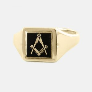 Regalia Store UK 1-262-300x300 Black Reversible Square Head Solid Gold Square and Compass Masonic Ring