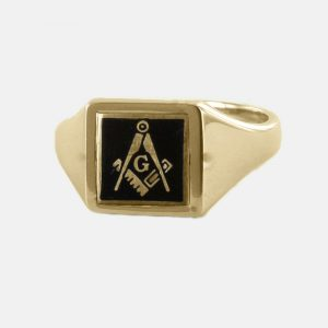 Regalia Store UK 1-264-300x300 Black Reversible Square Head Solid Gold Square and Compass with G Masonic Ring