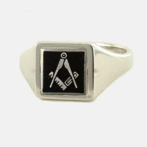 Regalia Store UK 1-266-300x300 Black Reversible Square Head Solid Silver Square and Compass Masonic Ring