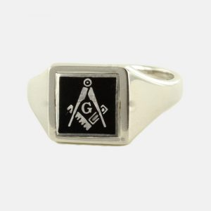 Regalia Store UK 1-268-300x300 Black Reversible Square Head Solid Silver Square and Compass with G Masonic Ring