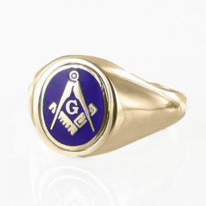 Regalia Store UK 1-272-300x300 Blue Reversible 9ct Gold Square and Compass with G Masonic Ring