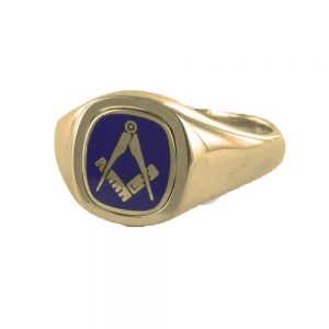 Regalia Store UK 1-274-300x300 Blue Reversible Cushion Head Solid Gold Square and Compass Masonic Ring