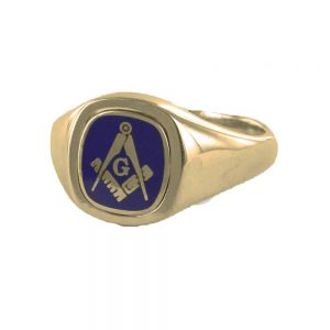 Regalia Store UK 1-276-300x300 Blue Reversible Cushion Head Solid Gold Square and Compass with G Masonic Ring