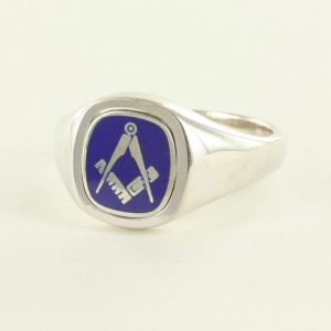 Regalia Store UK 1-278-300x300 Blue Reversible Cushion Head Solid Silver Square and Compass Masonic Ring
