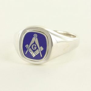 Regalia Store UK 1-280-300x300 Blue Reversible Cushion Head Solid Silver Square and Compass with G Masonic Ring