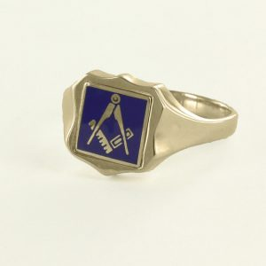 Regalia Store UK 1-282-300x300 Blue Reversible Shield Head Solid Gold Square and Compass Masonic Ring