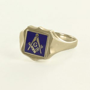 Regalia Store UK 1-284-300x300 Blue Reversible Shield Head Solid Gold Square and Compass with G Masonic Ring