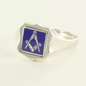 Regalia Store UK 1-286-300x300 Blue Reversible Shield Head Solid Silver Square and Compass Masonic Ring