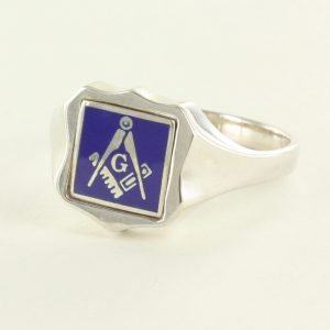 Regalia Store UK 1-288-300x300 Blue Reversible Shield Head Solid Silver Square and Compass with G Masonic Ring