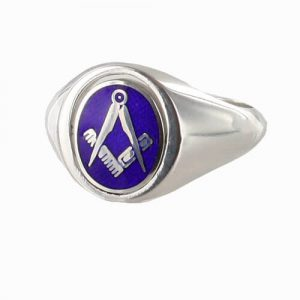 Regalia Store UK 1-290-300x300 Blue Reversible Solid Silver Square and Compass Masonic Ring