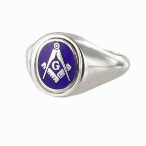 Regalia Store UK 1-292-300x300 Blue Reversible Solid Silver Square and Compass with G Masonic Ring