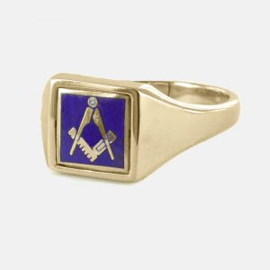 Regalia Store UK 1-294-300x300 Blue Reversible Square Head Solid Gold Square and Compass Masonic Ring