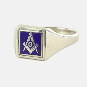 Regalia Store UK 1-300-300x300 Blue Reversible Square Head Solid Silver Square and Compass with G Masonic Ring
