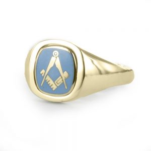Regalia Store UK 1-306-300x300 Light Blue Reversible Cushion Head Solid Gold Square and Compass Masonic Ring