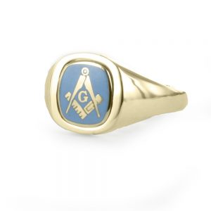 Regalia Store UK 1-308-300x300 Light Blue Reversible Cushion Head Solid Gold Square and Compass with G Masonic Ring