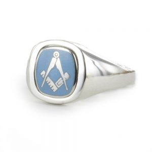 Regalia Store UK 1-310-300x300 Light Blue Reversible Cushion Head Solid Silver Square and Compass Masonic Ring