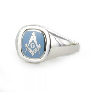 Regalia Store UK 1-312-300x300 Light Blue Reversible Cushion Head Solid Silver Square and Compass with G Masonic Ring