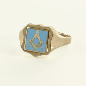 Regalia Store UK 1-314-300x300 Light Blue Reversible Shield Head Solid Gold Square and Compass Masonic Ring