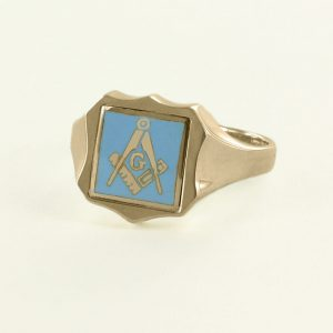 Regalia Store UK 1-316-300x300 Light Blue Reversible Shield Head Solid Gold Square and Compass with G Masonic Ring