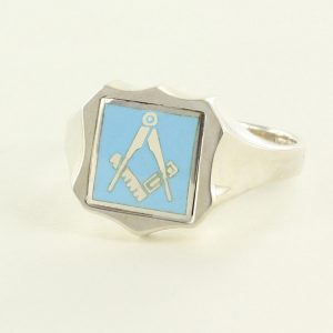 Regalia Store UK 1-318-300x300 Light Blue Reversible Shield Head Solid Silver Square and Compass Masonic Ring