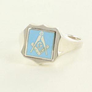 Regalia Store UK 1-320-300x300 Light Blue Reversible Shield Head Solid Silver Square and Compass with G Masonic Ring